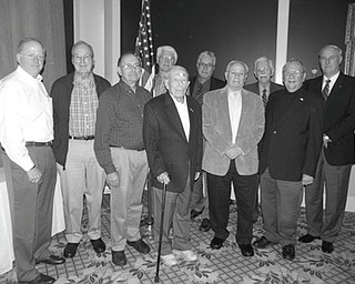 """At the recent November meeting of Rotary Club of Youngstown a Veterans Day program was conducted. The Rotary International motto is """"Service Above Self"""" and those who have served our country have modeled this motto. They continue to serve the community through Rotary. Rotarian veterans honored for their service were from left, Bill Russell, U.S. Navy; Jim Jarvis, U.S. Army; Walter DeBald, U.S. Air Force; Frank Kishel, U.S. Army; Dr. Robert Edwards, U.S. Air Force; John Fahnert, Tom Carney and Rand Becker, U.S. Army; Dr. Milt Lenhart, U.S. Navy; and Bill Petro, U.S. Army. Absent were Reid Schmutz, Ohio National Guard, and Dr. Robert Gilliland, U.S. Marine Corps."""