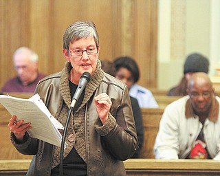 Kathleen Berry of Youngstown was one of a half-dozen residents who spoke at a parks and recreation commission meeting Tuesday in support of the city's position that it does not intend to lease park land to companies for oil and gas drilling.