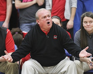 William d Lewis the Vindicator Columbiana coach Ron Moschella during 1rst half action Thursday at Lisbon.