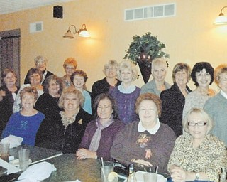 Mu Chapter of Delta Kappa Gamma Society International met recently at Dona Vito's Italian Grille in Struthers. Leslie Kiske, a co-founder of the English Center, presented a program on immigrants and their struggles. Three of her students also spoke and had dinner with the group. Chapter members shown from left are, front row, Tresa Kurz-Hedrich, Darlene Malaska, Linda Demeny, Joanne Kalbasky, Rita Herchik, parliamentarian, and Teresa Kopp. In the second row are Pat Marshall; Janice Donlin, treasurer; Joyce Swierz, secretary; Aggie Campanale, president; Mary Adams; Patti Cannatti; Theresa Eck; Ruby Peltz; Dr. Patricia Kelvin, vice president; and Cyndi Weigel. In the back are Leslie Kiske, presenter, and Cathy Wigley. Photo: SPECIAL TO THE VINDICATOR