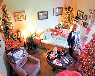 Leona Gould of Poland decorates her home with eight Christmas tree each year. The display caught the attention of some of her apartment-complex neighbors who asked for tours.