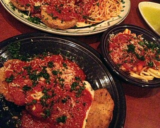 Cafe Capri, from top, Eggplant Parmigiana and below is the Veal  Parmigiana.
