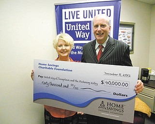 Home Savings Charitable Foundation recently donated $40,000 to United Way of Youngstown and the Mahoning Valley to provide annual program support. Bob Hannon, president and CPO of United Way, said United Way is the driving force behind  sustained improvement in the lives of citizens through promotion of education, income, health and community support services. Darlene Pavlock, executive director, Home  Savings Charitable Foundation, said the foundation is proud to support United Way and its mission. For more about the United Way and its services, call 330-746-8494 or visit  www.ymvunitedway.org.