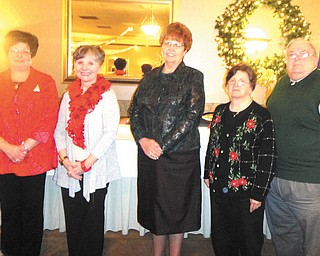Trumbull Retired teachers have announced officers and committees for 2013. Officers are, from left, Denise Deltondo, president; Ellen King, financial secretary; Linda Cowin, recording secretary; Carol Pinney, president-elect; and Patrick Pinney, treasurer. Committee members are Alberta Morales, chaplain; Charlotte Jessup, historian; Ruby Hawkins, ORTA trustee; Barb Wright, past president; Betty Jean Bahmer and Marilyn Stanton, community; Mary Fuller, hospitality; Ann Oakes, protective services; Denise Bartholomew, legislative; Barb Wright, Dottie Fogel, Nancy Countryman and Dorothy Blake, mailing; Jane Cribbs, membership; Judy Zimmer and Mary Alice Seaborn, name tags; Kathy Funtulis and Jessup, necrology; Anna Mae Cuchna and Diana Bauman, pre-retirement; Roselyn Gadd, public relations; Ruby Hawkins, Joyce Faiver, Una Ford, Libby Whetson, Donna Pate and Marcia Overhold, scholarship; Deltondo and Kathy Luhaney, spelling bee; Elaine Bernatowicz and Gretchen Reed, telephone; and Elsie Whetzel and Bernatowicz, raffle. Photo: SPECIAL TO THE VINDICATOR