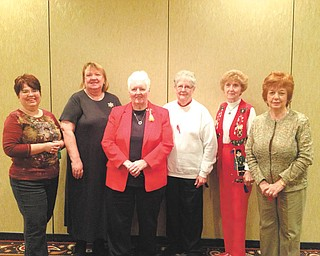 Youngstown Area Chapter of the Embroiderers Guild of America officers are shown at a recent holiday party at the Holiday Inn in Boardman. From left are Julia Kerner, treasurer; Charlotte Gengler, corresponding secretary; Carole DeWitt, president; Mary Jane Brosko, assistant recording secretary; D. Todd Murdock, recording secretary; and Ruth Ebert, second vice president. Laura Crawford, first vice president, was absent. Photo: SPECIAL TO THE VINDICATOR