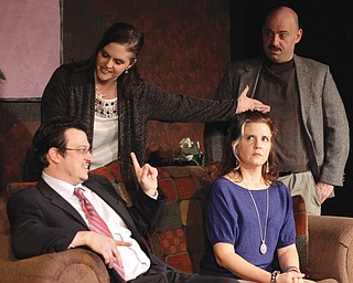 """From left, James McClellan, Brandy Johanntges, Holly Ceci and Frank Martin star in """"God of Carnage"""" at the Youngstown Playhouse."""