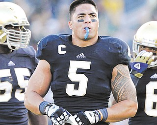 Notre Dame on Wednesday issued a release saying a story about Manti Te'o's (5) girlfriend dying, which he said inspired him to play better as he helped the Fighting Irish get to the BCS title game, turned out to be a hoax apparently perpetrated against the linebacker.