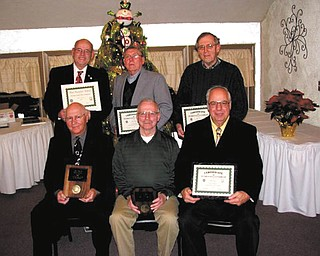 The Men's Garden Club of Youngstown presented awards at its December banquet. In front from left are John Kolar, horticulture; Dan Burns, Bill Carney Bronze; Bob Stas, certificate of appreciation. Standing are John Schinker, President's; and Bob Fink and John Fox, certificates of appreciation. Missing winners were Bill MacPherson, certificate of honor; Sam Eddy, outstanding new member; Don Brown, Master Gardener; and Vince Camp, Heritage.