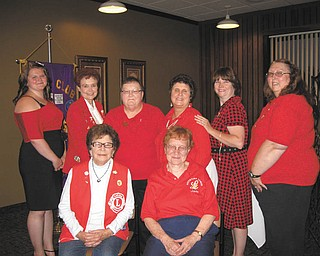 """Brenda Puntel submitted this photo of the Austintown Lady Lioness Club. She said they are all """"lovely Valentines who give their hearts for the Austintown Lions Club."""" Pictured are, front row, Miss Lou of Austintown, left, and Miss Jane of Boardman. Back row are, from left, Miss Jena, Miss Lori and Miss Pat, all of Austintown, Miss Elsa of Youngstown, Miss Brenda of Austintown and Miss Theresa of Hubbard."""