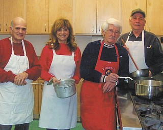 SPECIAL TO THE VINDICATOR St. Thomas the Apostle Catholic Community, 4453 Warren-Sharon Road, Vienna, will serve fish dinners beginning Feb. 15 and every Friday in Lent except March 29. Hours are from 3:30 to 7 p.m. and take-outs will be available at 3 p.m. The menu comprises baked or fried fish, parsley potatoes, pirogi, coleslaw, applesauce, homemade desserts and beverages for $9 for adults and $4 for children 6 to 12. Children under 6 eat free. Preparing for the dinners are Vince Pacileo, left, and Vickie Graora, co-chairpersons of the take-out room, and Bob Rose and Jerry Piehuta, co-chairmen of the event.