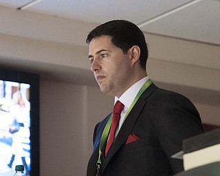 2/3/13 New Orleans LA.-NFL The San Francisco 49er's CEO Jed York pictured in his box,  looks worried during the first quarter of the Super Bowl Ravens lead 14-3. outside his box before the start of Super Bowl XLV11 at the Mercedes Benz Super Dome. The Francisco 49er's take on the Baltimore Ravens Sunday Feb. 3, 2013Photo©Suzi Altman