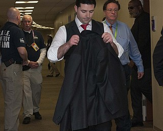 2/3/13 New Orleans LA.-NFL Super Bowl XLV11 Jed York CEO othe San Francisco 49er's hangs his head as he leaves his suite at the dome after the Ravens beat the 49ers'.The Baltimore Ravens the in Super Bowl XLV11 in New Orleans at  the Mercedes Benz Super Dome. Photo©Suzi Altman