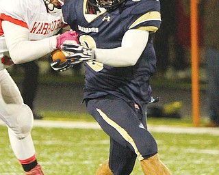 Brookfield senior Ryan Mosora, shown here during a game against Edgewood this season, was one of two area players to sign with YSU on Wednesday. Kicker Connor McFadden is also headed to YSU.