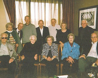 Campbell Memorial Class of 1942 graduates recently celebrated their 70th reunion with a luncheon at TJ's at Holiday Inn in Boardman. Seated are, from left, Bill Backus, Anne (Kinnick) Hudak, Eleanor Verba, Virginia (Wasko) Gorski and Larry Garchar. Standing are Sue (Megela) Battalgine, Bill Peyko, John Lencyk, Elmer Gaystsky, Edward Hudak, Eleanor (Rushen) DiPiero and John Volchko. The group meets from noon to 1 p.m. the last Tuesday of each month at Bogey's Restaurant, Route 616, Struthers. For information call 330-755-6497, 330-757-7645 or 330-757-4589.