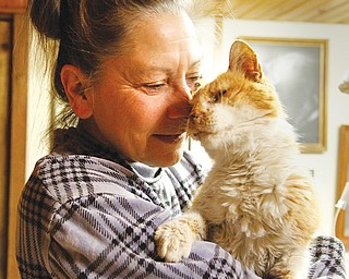 Diane Less, co-founder of Angels for Animals, cradles Valentine, the cat abandoned from a car Feb. 14 and rescued by a police lieutenant. Less hopes that Valentine, who is being nursed back to health, will be ready to be adopted into a new home in about a week.