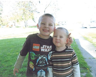 """""""Grammie Sue"""" Kachurek says this photo of her grandsons, 5-year-old Logan Takat and 3-year-old Tyler Takat, """"makes me smile every time I look at it."""" They all live in Austintown."""