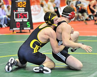 Crestview's Matt Hardenbrook controls the back of Mohawk's Grant Price during their 170lb bout.