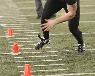 ROBERT K. YOSAY  | THE VINDICATOR..NFL Combine at YSU Watts Center -  Will Shaw  - does the cones .. - -30-..