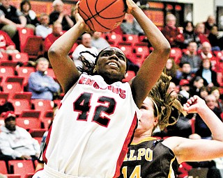 Youngstown State senior forward Brandi Brown (42) was named the Horizon League's player of the year after 