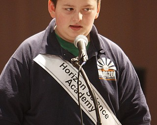 ROBERT  K.  YOSAY  | THE VINDICATOR --..FACES - Horizon Science Academy  of Jordan Martin  5th grader..The 80th  Youngstown Vindicator Spelling Bee was held at Kilcawley Center on YSU Campus  Saturday morning with  60 competitors from area schools.. ..(AP Photo/The Vindicator, Robert K. Yosay)