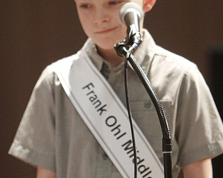 ROBERT  K.  YOSAY  | THE VINDICATOR --..FACES --Mason Culbertosn a 4th grader from Frank Ohl  Middle Schoo in Austintown..The 80th  Youngstown Vindicator Spelling Bee was held at Kilcawley Center on YSU Campus  Saturday morning with  60 competitors from area schools.. ..(AP Photo/The Vindicator, Robert K. Yosay)
