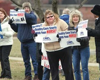 Some of the 400 registered nurses at ValleyCare Northside Medical Center manned informational picket lines Tuesday in front of the hospital on Gypsy Lane, Youngstown.