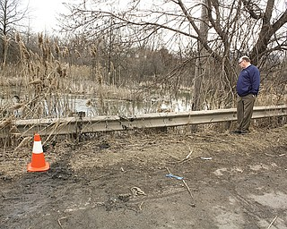 Warren Councilman John Brown stands by the side of Niles Warren River Road and the pond into which a sport utility vehicle flipped March 10, killing six Warren teens.