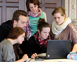 A group of students from the Technical University of Dortmund in Germany is working on a proposal to develop land in Youngstown along the Mahoning River. The students, from front left, are Romina Loch, Jenny Kerkoff and Madita Bush, and, back from left, Adam Berecki and Valerie Heeks.