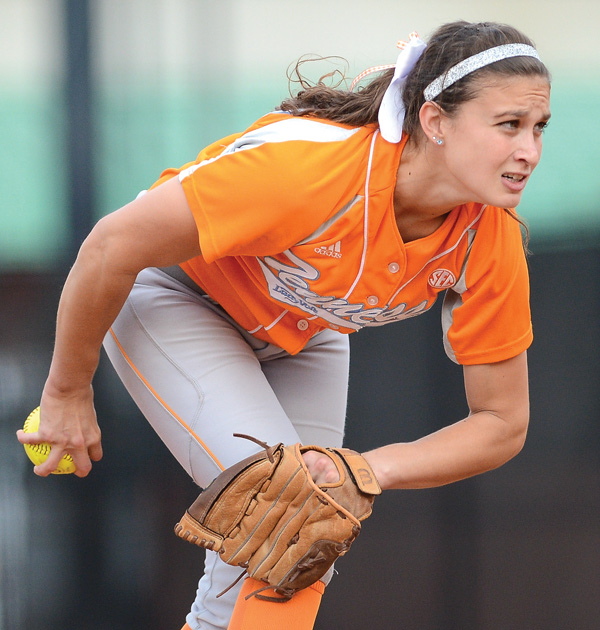 Erin Gabriel pitches during a game between the University of Tennessee and Milligan College on Oct. 14, 2012, at Lee Stadium in Knoxville. Gabriel is a Poland High graduate.