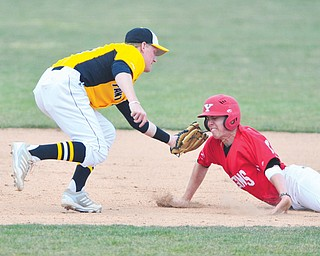 Youngstown State's Phil Lipari is tagged out by Milwaukee's Alex Erdmann after being caught in a rundown during Sunday's game at Eastwood Field.
