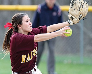 South Range pitcher Carly DeRose works against Jackson-Milton on Tuesday. DeRose threw her second no-hitter of the season in the Raiders' 8-0 victory over the Bluejays. DeRose improved her record to 6-0. South Range is 8-1 (6-0 ITCL Tier One).