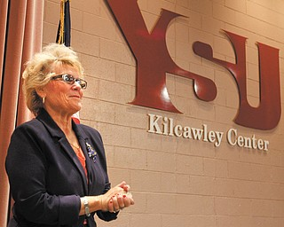 Cynthia E. Anderson, outgoing president of Youngstown State University, received a standing ovation Tuesday for her years of service at the end of her last State of the University address. Anderson is retiring July 1 after three years as YSU president and has been at the university nearly 40 years.