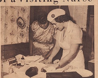 This picture of Jeanette MacLennan Van Brocklin was published on the front page of The Vindicator's June 26, 1960, Rotogravure Section. It was part of a full-page package focusing on her as she performed her many duties as a nurse with the Visiting Nurse Association. The entire page was sent to us by her husband, Harry Van Brocklin. The couple live in Poland.