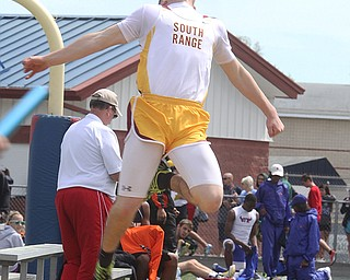 NICK MAYS l THE VINDICATOR  Jake Arsuffi from South Range competes in the long jump Saturday afternoon in Austintown. 05042013 austintown, ohio