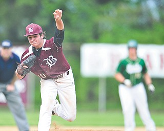 Boardman's Eddie Crump throws a pitch during Wednesday's game against Ursuline in Boardman. Crump, a junior, earned his second victory, as the Spartans downed the previously unbeaten Irish, 5-1.