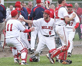 William d Lewis The Vindicator  Niles catcher Tyler Wiery(6) celebrates with team mates Cameron Carson(11) Ryan Ifft(4) and Brennan Baker(17) after defeating Cnfield 1-0 during 5-14 game at Niles.