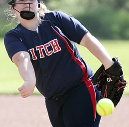 William D. Lewis\The Vindicator Alex Fraznken(8) , Fitch pitcher delivers during May 15,2013 game with Kent. Fitch won 4-2..