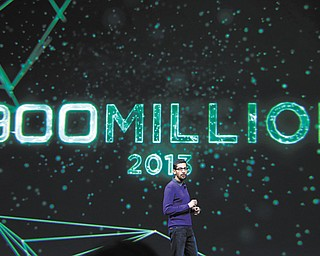 Sundar Pichai, senior vice president, Chrome and Apps at Google, speaks about the 900 million android users at Google I/O 2013 in San Francisco on Wednesday.
