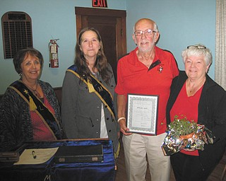 SPECIAL TO THE VINDICATOR Dublin Grange 1409 of Canfield honored outstanding members at their meeting April 24. Some of those participating, from left, are Linda Lanterman, lecturer; Debbie Raber, master; Howard Moff and Barbara Moff, honorees.