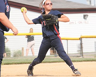 Fitch's Cali Mikovich (3) throws to home plate to get an out against Stow during a Division I district semifinal at Fields of Dreams in Boardman. Fitch won, 8-6.