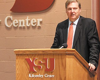 Eric Spiegel, president and CEO of Siemens Corp., speaks Thursday at Youngstown State University during an announcement of Siemens' $440 million in-kind grant for the Science, Technology, Engineering and Mathematics College.