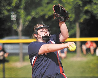 Fitch pitcher Alex Franken works during a Division I regional semifinal against Medina on Thursday at the University of Akron.