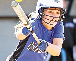 Jackson-Milton's Rachel Obradovich attempts a bunt during a Division IV regional semifinal against North Robinson Colonel Crawford on Thursday at Kent State University. Colonel Crawford eliminated Jackson-Milton, 2-1.