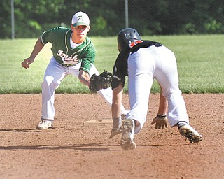 Ursuline's Joel Hake waits at second base for Springfield baserunner Brandon Chamberlain during a game