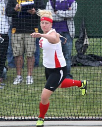 Salem's Ciera Trybend  makes a throw during the OHSAA Girl's Division II State Discus Finals, Friday, June 7, 2013, at the Ohio State University, in Columbus, Ohio. (Photo For The Vindicator by Terry Gilliam)