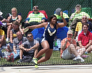 McDonald's Lai'Lyn Mosley throws the Discus during the OHSAA Girls Division III Discus Finals, Friday, June 7, 2013, at the Ohio State University, in Columbus, Ohio. (Photo For The Vindicator by Terry Gilliam)