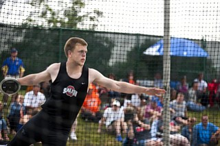 Austin Shivers competes in the discuss competition at the state track and field finals at Jesse Owens Memorial Stadium, Columbus, OH, Saturday, July 8, 2013.