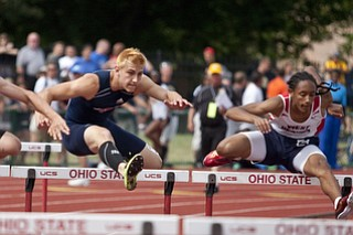 Sam Ortz of Austintown-Fich competes in the 100m hurdles at the state track and field finals at Jesse Owens Memorial Stadium, Columbus, OH, Saturday, July 8, 2013.