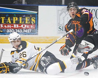 The Youngstown Phantoms selected 30 players for their protected list after a five-day tryout camp that concluded Monday. Many, including Josh Nenadal (19), above, and Luke Stork (27), bottom right, were members of this year's team (37-27-0, 74 points) which finished in third place in INSIDE the USHL Eastern Conference.
