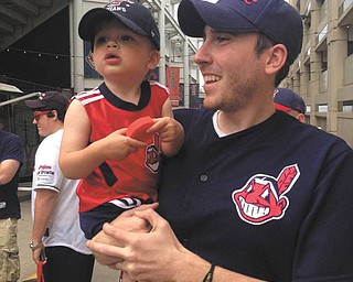 These two father-and-son  Cleveland Indians fans came in to us with no names.